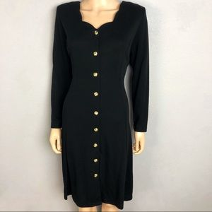 80's Vintage Knit Button Down Dress Long Sleeve